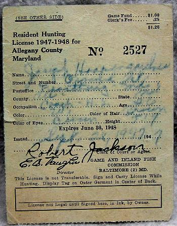 1947 1948 allegany county maryland hunting license for Md fishing license